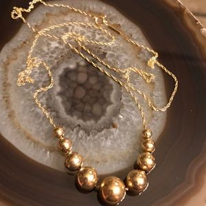 14K Yellow 2-10 mm Gold Beaded Necklace